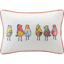 Chickas Birds Embroidered Cotton Lumbar Pillow