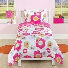 Textured Floral Flower 3 Piece Comforter Set