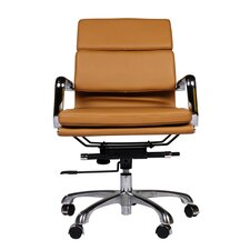 Mid-Back Leather Executive Office Chair with Arm