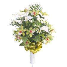 Signature Round Mixed Orchid Floral Vase Arrangement