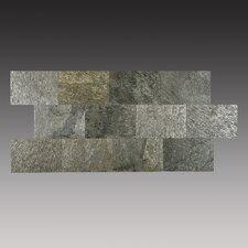 """6"""" x 9"""" Slate Peel & Stick Splitface Tile in Silver Shine"""