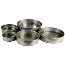 5 Piece Zinc Cylinder Vase Set