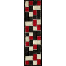 Alford Hand-Woven Black/Red Area Rug