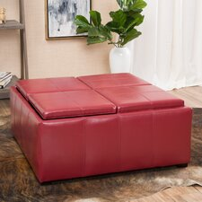 Cube Shaped Faux Leather Tray Top Ottoman