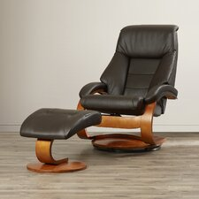 Leather Ergonomic Recliner and Ottoman