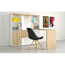 "Liles Writing Desk with 12 Shelf 57.44""  Bookcase"