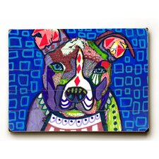 Pitbull and Blue Squares Wall Art