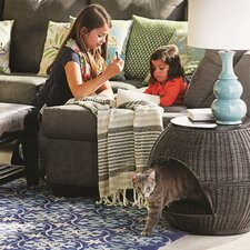 Deluxe Wicker End Table Cat Bed
