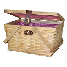 Gingham Lined Wood Picnic Basket