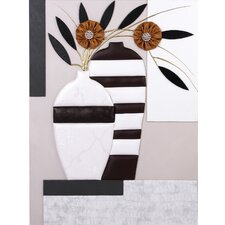 Euro Style 3D Leather Replica Base and Flower Wall Decor
