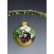 Winter Pine Cone Hand Painted Glass Ball ornament