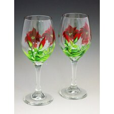Poinsettia Hand Painted Glass (Set of 2)