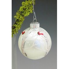 Winter Majesty Hand Painted Glass Ball Ornament