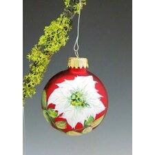 White Poinsettia Hand Painted Glass Ball Ornament