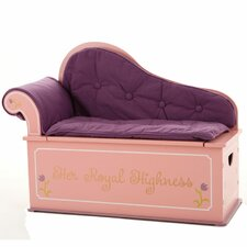 Princess Painting Kids Chaise Lounge with Storage Compartment