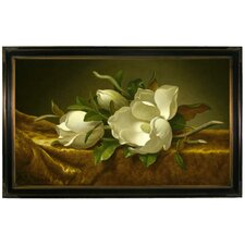 'Magnolias on Gold Velvet Cloth' by Martin Johnson Heade Framed Painting Print