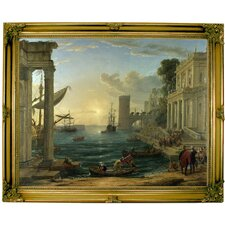 'Seaport with the Embarkation of the Queen of Sheba' by Claude Lorrain Framed Painting Print