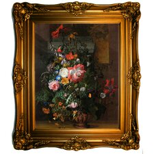 'Roses, Convolvulus, Poppies, and other Flowers in an Urn on a Stone Ledge 1680' by Rachel Ruysch Framed Painting Print
