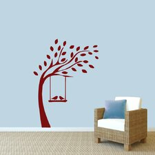 Tree with Birds on Swing Wall Decal