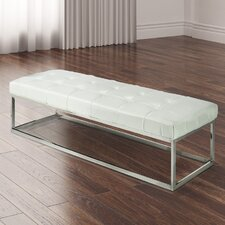 Mobi Stainless Steel ButtonTufted Fuax Leather Bench Ottoman