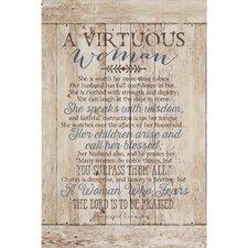 """""""Virtuous Woman…"""" Textual Art Plaque"""