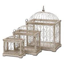 3 Piece Weathered Decorative Metal Bird Cage Set