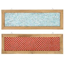 2 Piece Fire and Ice Wood Frame Glass Mosaic Wall Décor