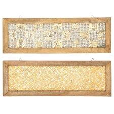 2 Piece Cracked Mosaic Wooden Frame Wall Décor Set