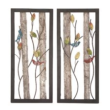 2 Piece Birds in The Leaves Metal/Wood Panel Wall Décor Set
