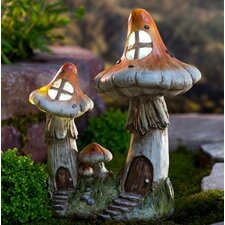 Solar Two Mushroom Fairy House Statue