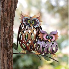 Prismatic Owl Pair Iron Wall Décor
