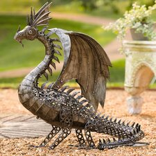 LED Lighted Steampunk Dragon Statue