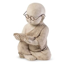 Volcanic Ash Reading Monk Statue