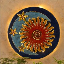 Handcrafted Glowing Sun and Moon Metal Wall Décor