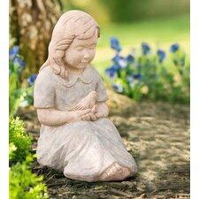Girl Holding Bird Garden Statue