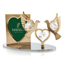 2 Piece Crystal Decorated Double Dove Figurine and Picture Frame Set