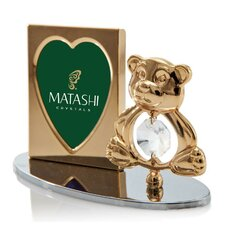 2 Piece Crystal Decorated Teddy Bear Figurine and Picture Frame Set