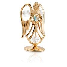 24K Gold Plated Crystal Studded March Angel Birthstone Figurine