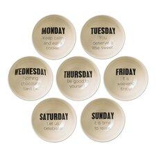 7 Piece Ceramic Weekday Bowl Set