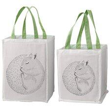 Sleeping Animal 2 Piece Storage Bag with Handles Set