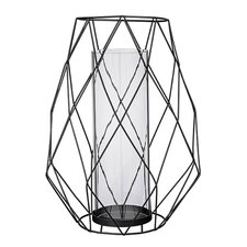 Geometric Metal and Glass Votive