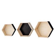 3 Piece Hexagonal Wood Shelf Set