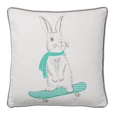 Rabbit on Skateboard Cotton Throw Pillow