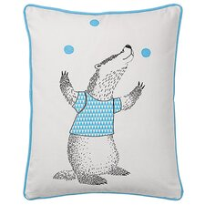 Juggling Badger Cotton Throw Pillow