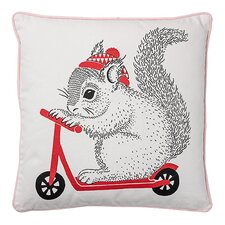 Squirrel on Scooter Cotton Throw Pillow