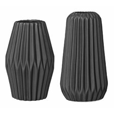 2 Piece Ceramic Fluted Vase Set