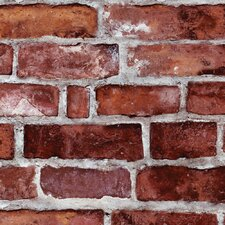 "Peel and Stick 4' x 24"" Brick Tile Wallpaper"