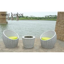 West Harbor 3 Piece Bistro Dining Set with Cushion