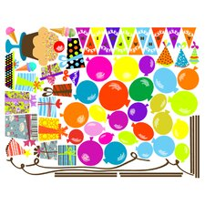 Congratulations! and Celebrations! Birthday Overlay Wall Decal