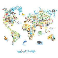 Iconic Cultural World Map Wall Decal